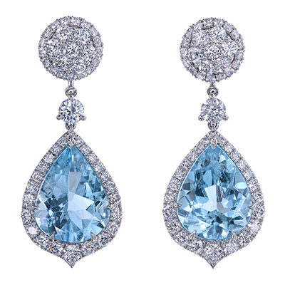 Custom made detachable platinum earrings with aquamarines and diamonds by Leon Mege e7605