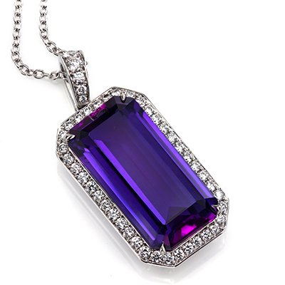 Handmade halo pendant featuring emerald cut amethyst by Leon Megep7262