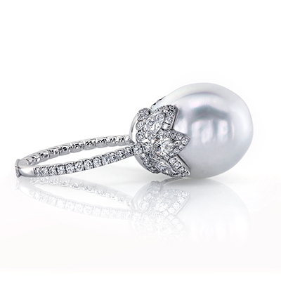 South sea pearl and diamond ring by Leon Mege r7649