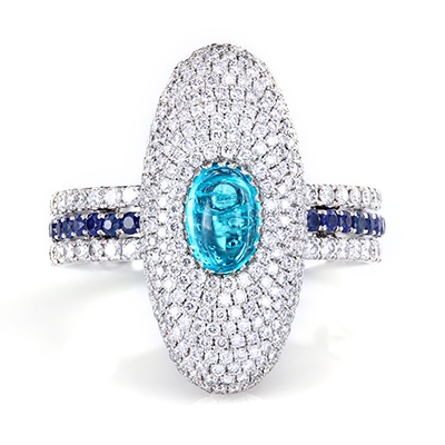 Brazilian Paraiba cab in a micro pave ring with blue sapphires on a triple string shank by Leon Mege r7777