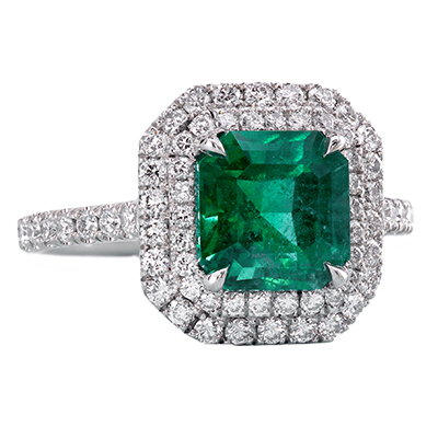 Custom made ring featuring emerald and diamond pave by Leon Megé r7316 1
