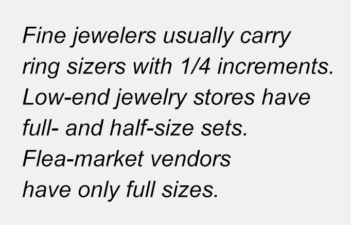 Fine jewelers usually carry ring sizers with 1/4 increments.  Low-end jewelry stores have full- and half-size sets. Flea-market vendors have only full sizes.