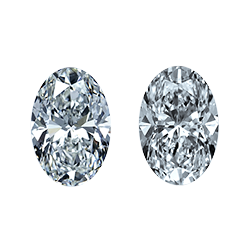 leon mege matched pairs stones side diamonds ovals three stone ring