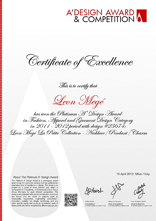 A'design award by leon mege 2012 la petite collection tinyrings