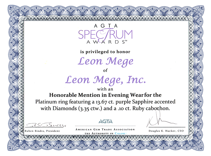 Spectrum design award leon mege purple sapphire ring